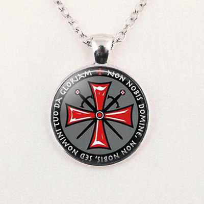 Knights Templar Cross Glass Dome Silver Pendant Necklace Unisex Jewelry Gift