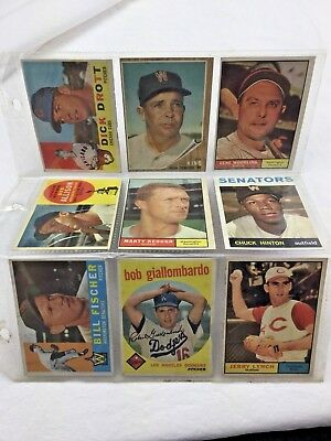 #4 Mixed Lot 9 Old Antique Topps Baseball Cards Rare See Pics
