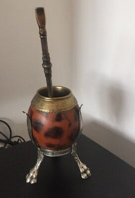 Vintage Yerba Mate Silver Alpacca Gourd Cup & straw bombilla Argentina Eberle