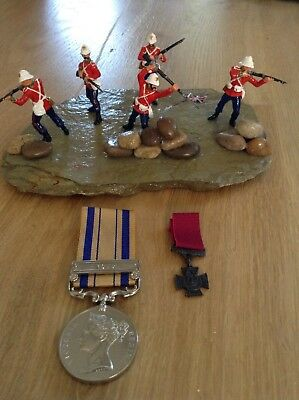 Rorkes Drift diorama and full size zulu War medal with clasp and Victoria cross