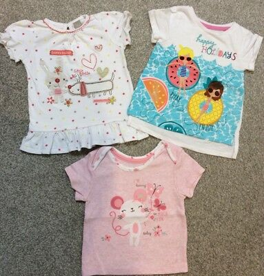 Girls T Shirt Bundle - 9-12 Months - Pink & White - Very Good Condition