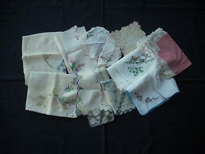 Job lot of old embroidered linen pieces upcycling/craft/textilework H19