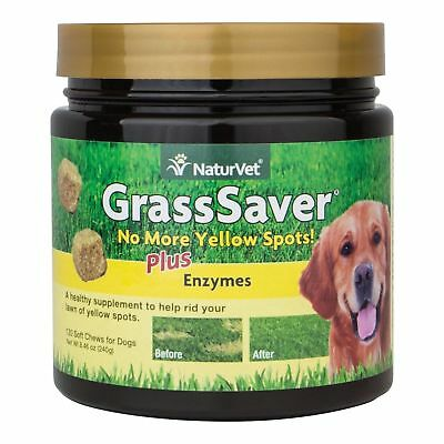 NaturVet Grass Lawn Saver Soft Chews for Dogs Jar with Enzymes 120ct