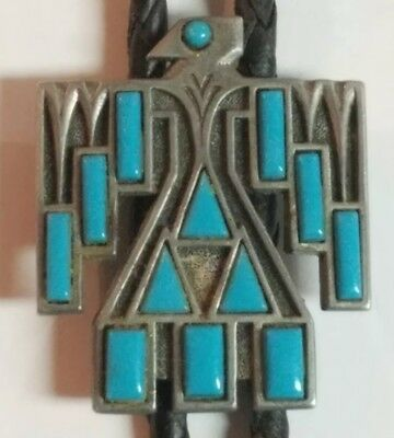 Vintage Foritt Thunderbird Western Bolo Tie Silver-Tone Faux Turquoise Inlay