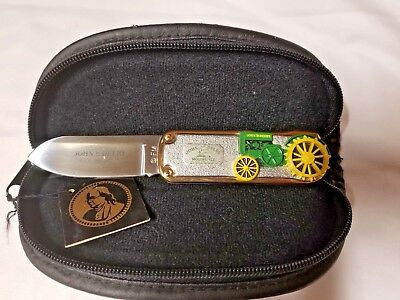 NEW JOHN DEERE FOLDING KNIFE - 1923 MODEL D TRACTOR - FRANKLIN MINT with CASE