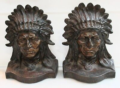 Antique Cast Iron Native American Bookends