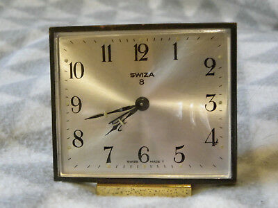 Vintage Swiza 8 Swiss Made Alarm Bedside Clock GWO 8 Day Movement Brass Case