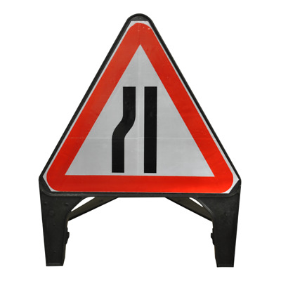 Road Narrows Left 750mm Plastic Road Traffic Sign
