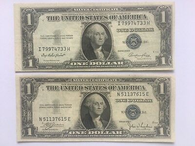 Two Notes 1935 E 1 Dollar Silver Certificate