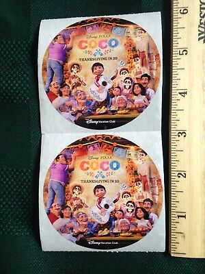 "RARE-OUT OF PRODUCTION (Set of 10) DISNEY ""COCO"" Vacation Club Stickers"