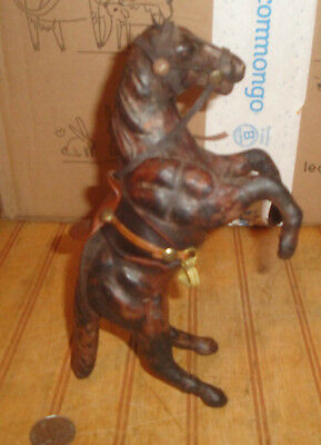 Vintage Rearing Horse leather figure statue Made in India as is