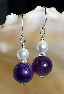 Amethyst Beads & 1950's White Glass Pearl Solid Sterling Silver Earrings #371