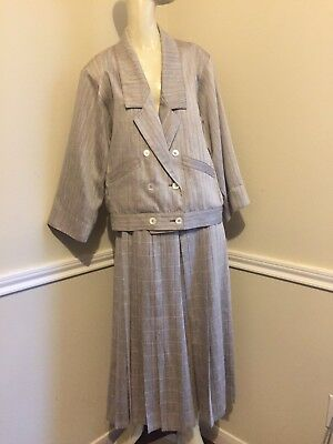 VINTAGE Sz: 12 - FITS US 6 - Taupe and Ivory Gaucho Pant Suit by JAEGER  #11