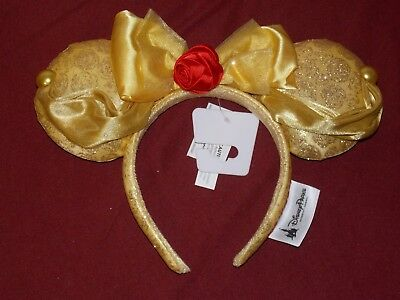 "Disney Parks 2018 Minnie Mouse Ears Headband Belle ""Beauty and the Beast"" Adult"