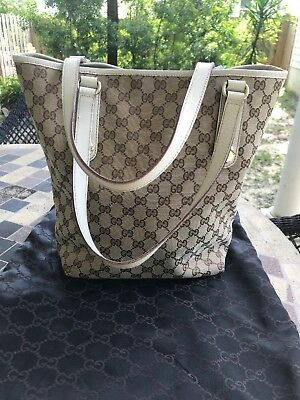 Gucci Tote Bag Authentic! White Leather Handles. EUC And Great For summer!