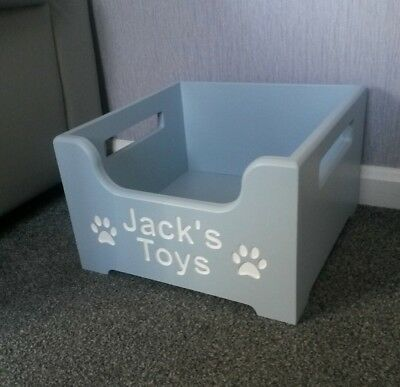 Personalised Dog Puppy Wooden Toy Box Crate For Treats And Storage