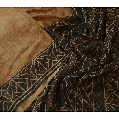 Tcw  Vintage 100% Pure Silk Saree Brown Abstract Printed Sari Craft Fabric