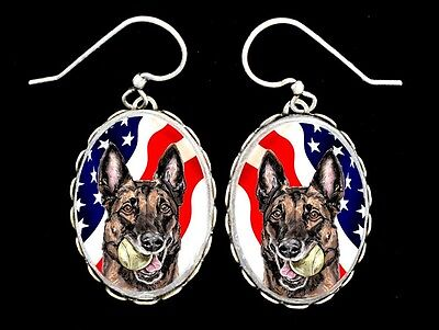Malinois American Flag Original Art Earrings