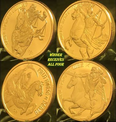 Four Horseman of the Apocalypse Copper Rounds - 4 Piece Set
