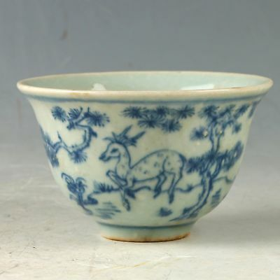 Chinese Exquisite Porcelain Hand-painted Deer Bowl CC1146