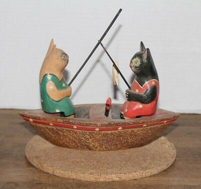 """Vtg Hand Carved & Painted """"Fishing Cats In A Boat""""Wood Sculpture German Folf Art"""