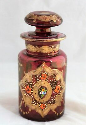 Bohemian Moser Style Hand Painted Enameled Blown Glass Gold Apothecary Jar