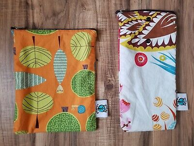 Planet Wise Wet Dry Bags Small Flowers Trees Orange Eco Cloth Diaper