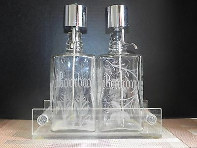 Vintage Set of 2 Labeled Glass Alcoholic Liquor Beverage Dispensers with Holder