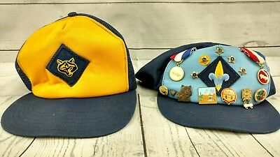 Lot Of 2 Vintage Boy Scout Hats Caps Blue And Yellow 1990's with pins