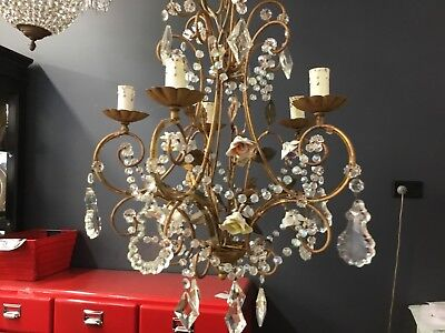 VINTAGE RARE FRENCH CRYSTAL CHANDELIER HALLWAY 5 LIGHT LOUNGE ROOM BEDROOM No.92