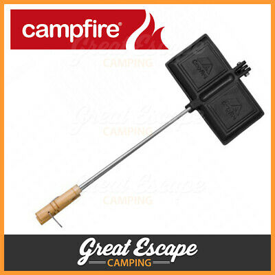 Outdoor Connection Cast Iron Double Jaffle Iron. For Campfire or Stove