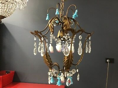 VINTAGE RARE FRENCH CRYSTAL CHANDELIER HALLWAY 1 LIGHT LOUNGE ROOM BEDROOM No.86