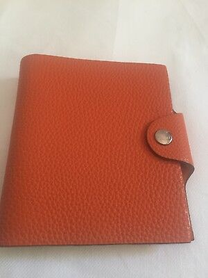 Authentic Hermes Ulysse MM Orange Togo Leather Agenda Notebook Cover C Square