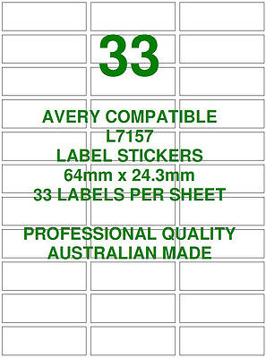 Avery L7157 Compatible Address Shipping Labels Stickers 33 X 10 Sheets Laser