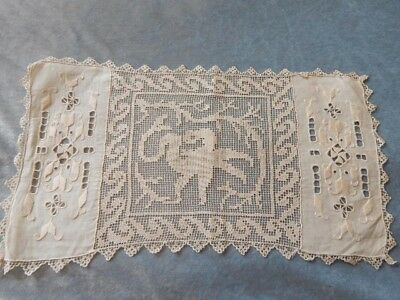 Set of 4 Antique Filet Lace & Linen Placemats w Dragons
