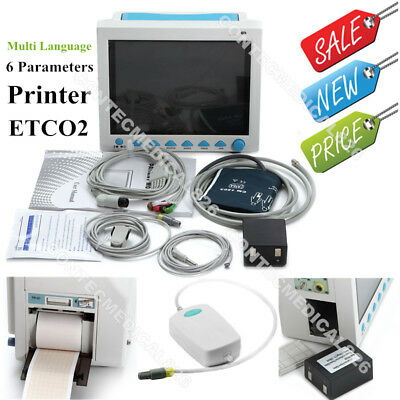 ICU CCU Patient Monitor 6 Parameters Vital Signs Monitor Printer ETCO2 Stand Bag