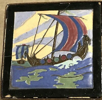 Antique FRANKLIN Art Deco Sailboat NAUTICAL Boat Seascape Wall Or Table Tile NR