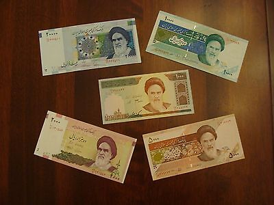 Lot of 5 Iran banknotes-1000,2000,5000,10000,20000 Rials currency Uncirculated