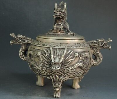 Old Chinese Silver Carving Dragon Beast Head incense burner Censer incensory f01