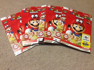 Lot of 7 Super Mario Odyssey Cereal Boxes Nintendo Switch Amiibo Only!
