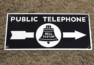 Public Telephone Bell System Double Sided Porcelain Sign