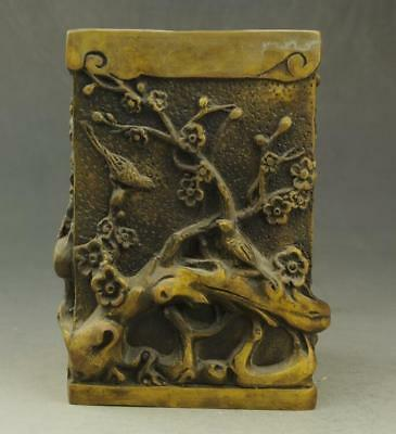 Chinese old fengshui copper hand-carved bird and flower brush pot e01