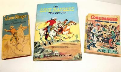 Vtg Set Of 3 Lone Ranger Books Including New Deputy W/Dustcover & 2 Paperbacks