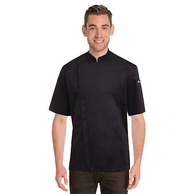 Chef Coat Jacket Black Springfield Zipper Short Sleeve Chefworks Extra Large