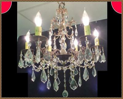 Vintage Ornate French Brass Chandelier Superb Quality Leaded Crystals Gorgeous!