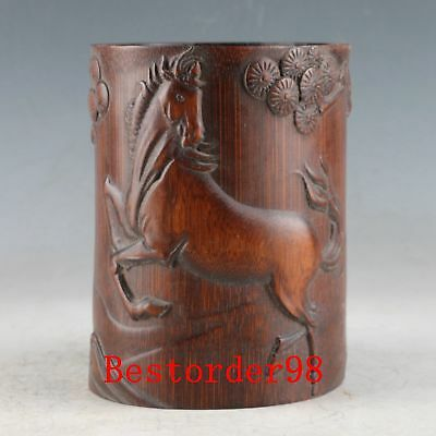 Chinese Bamboo Wood Handwork Carved Horse & Pine Tree&Old Man Brush Pot MY0023