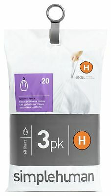 simplehuman Bin Liner Code H 3 x 20 Pack 60 Liners -From the Argos Shop on ebay