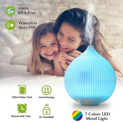 7 Colors 330ML LED Essential Oil Diffuser Ultrasonic Aroma Diffuser  Humidifier