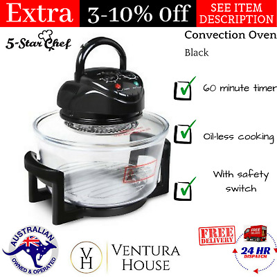 17L Benchtop Portable Convection Oven 1200~1400W Heat Resistant Glass Bowl Turbo