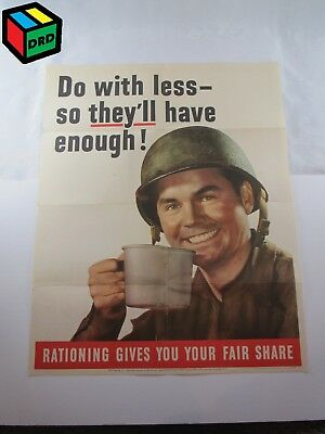 Do With Less--So They'll Have Enough! Rationing USA 1943 WWII Original Poster 37